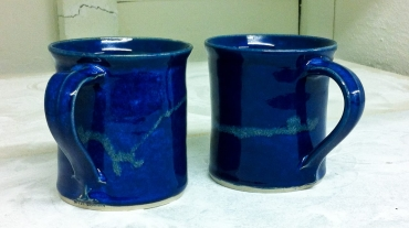 blue stoneware mugs by peter downey