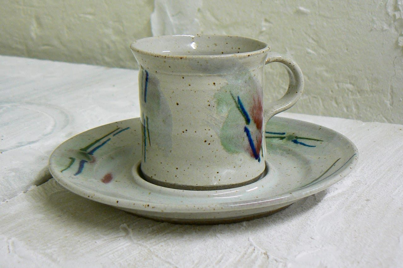 hand-thrown stoneware espresso cup and saucer