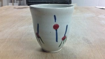 hand-thrown stoneware green tea cup