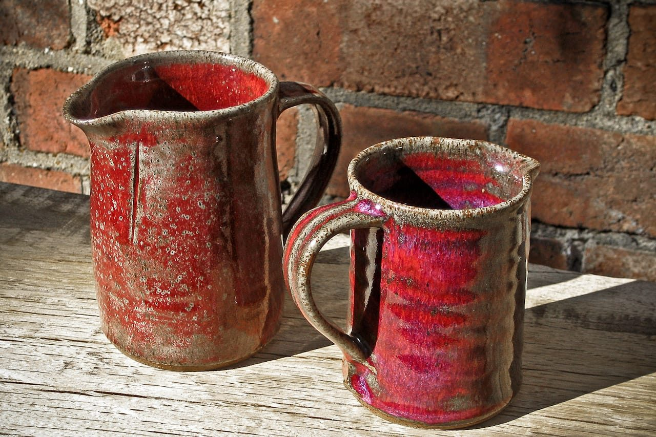red stoneware jugs peter downey pottery